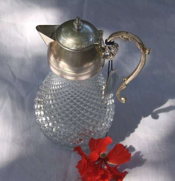 Handmade Italian Metalstil Silverplate and Pressed Glass Pitcher With Tag