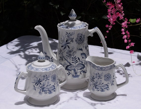 Wood & Sons England Old Staffordshire Tea Set Ironstone Blue Fjord