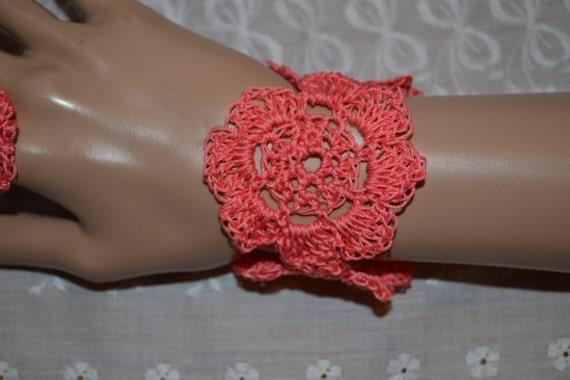 Coral Lacey Lotus Flower Cuff 380