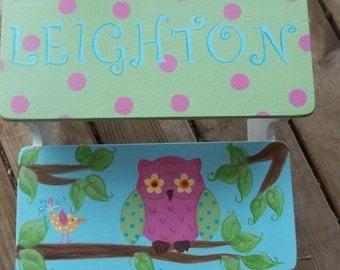 Brooke, Love Nature Owls, Step stool, Kids Furniture, Personalized Stool, Bathroom Stool,childrens Furniture