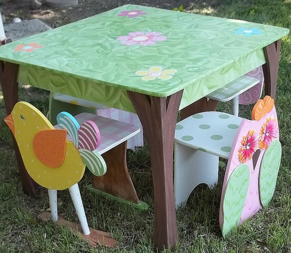 TABLE AND CHAIR sets Bird Owl Themed Haley Penelope Brooke