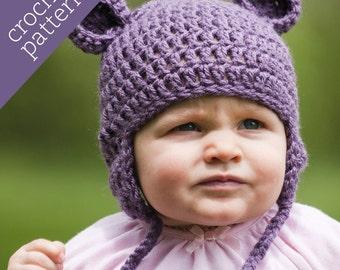 CROCHET PATTERN PDF - Zoo Caps - Happy Hippo Hat - Infant/Baby/Toddler/Child sizes