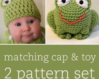 2 CROCHET PATTERN SET - Funny Frog Cap & Amigurumi Toy - child/baby/toddler sizes for cap