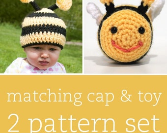 2 CROCHET PATTERN SET - Itty-Bitty Bee Cap & Amigurumi Toy - child/baby/toddler sizes for cap