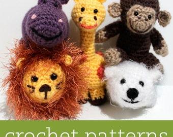 5 CROCHET PATTERN SET - Amigurumi Zoo Animals - Hippo, Giraffe, Lion, Monkey, Polar Bear