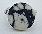 10% OFF - Made to order in any size - Spiders Web Jasper Black and White ring - Wire Wrapped in Sterling Silver - 15 mm