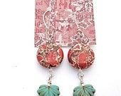 30% OFF - Red Mosaic and Ceramic leaf Earrings wrapped with Sterling Silver wire