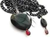 Big Heart Pendant on adjustable chain - Natural Black Onyx with Garnet teardrop - Giant Stone Necklace - Semiprecious Gemstone