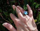 RING - Made to Order - Custom Size Ring - Cute Flower Ring - Abalone Shell Ring -  Wrapped in Sterling Silver wire - Small Wire Wrapped Ring