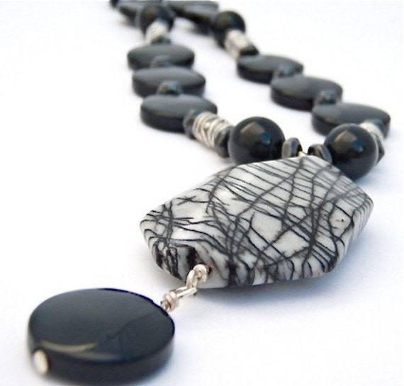 SALE - 15% Off - Spider web Jasper with Onyx and Hematite Necklace