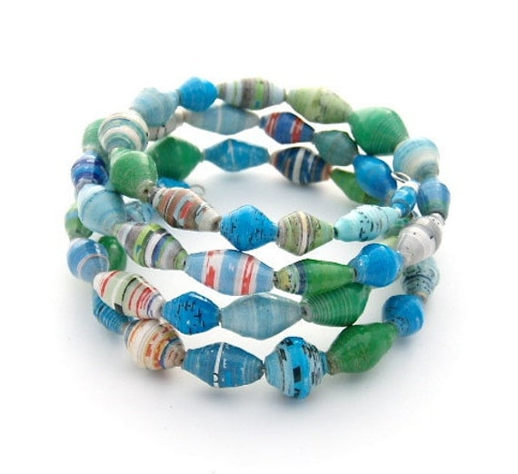 Tropical Island - Multi Strand - Paper Bead - One Size Fits All Wrap Bracelet