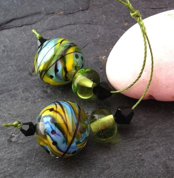 Spring - pair for earrings - Handmade Lampwork Beads Set  (4) - by Anne Schelling, SRA