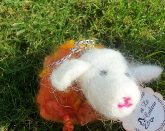 Dream Ambassador (Orange/Yellow Needle Felted Sheep)