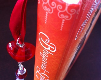 Luxe Ribbon Bookmark with Glass Heart and Charm