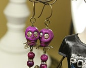 Sugar Skull Earrings Large Purple Swarovski Crystals and Brass OOAK