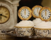 Happy New Year, Bonne Annee, 1700s Paris Inspired New Years Eve Printable Cupcake Topper And New Years Eve Cupcake Wrapper Set- Simply Print, Cut, Assemble, Enjoy