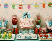 Let It Snow Printable Christmas Party Dessert Table With Santa, Snowman, Gingerbread Man, Elf, Penguin- Simply Print, Cut, Assemble, Enjoy