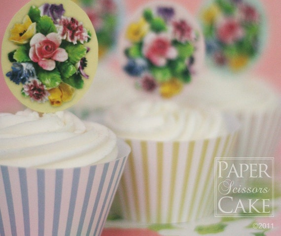 Spring Flowers Printable Cupcake Topper And Wrapper Set Perfect For A Birthday Party Or Bridal Shower- Simply Print, Cut, Assemble, Enjoy