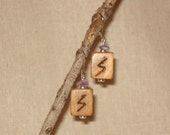 Wooden Sowilo Rune Earrings With Amethyst Chip