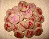 Handmade Rune Set of the Elder Futhark, Rose Petals