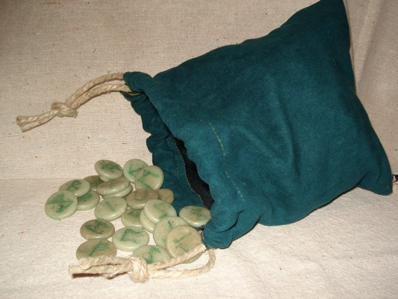 Rune Bag, Teal Colored Suede Like With Polished Hemp Cord