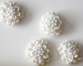 2 Pieces Of Off White Cotton Flowers With Pearls For Fashion Projects Costumes Altered Couture Dresses And More