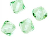 20 Pieces Light Green Color Swarovski Crystal Bicone Faceted Beads 6mm