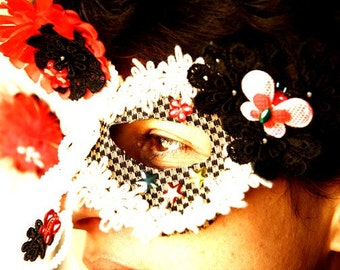 Fabric Masquerade Mask, Handmade From Scratch For Parties And Christmas