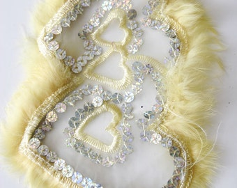 Fancy See Through Applique Fur For Bridal Wear, Weddings, Gowns, Dresses, Fashion Projects, Altered Couture, Costume or Jewelry Design F