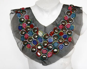 Fancy Beaded Venice Lace Collar Applique Yoke For Bridal Wear Weddings Gowns Dresses Fashion Projects Altered Couture Costume Jewelry Design