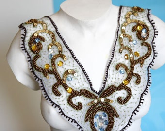 Fancy Beaded Venice Collar Applique Yoke For Gowns, Dresses, Fashion Projects, Altered Couture, Costume or Jewelry Design