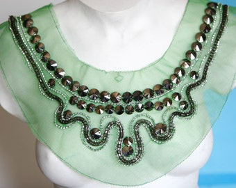 Fancy Venice Lace Collar Applique Yoke With Beads For Gowns, Dresses, Fashion Projects, Altered Couture, Costume or Jewelry Design