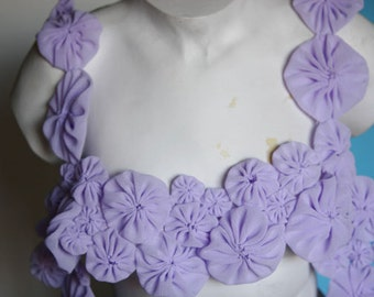 Fancy Lavender Venice Lace Collar Applique Yoke For Gowns, Dresses, Fashion Projects, Altered Couture, Costume or Jewelry Design