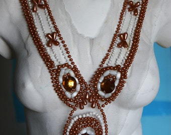 Fancy Beaded Venice Lace Collar Applique Yoke For Gowns, Dresses, Fashion Projects, Altered Couture, Costume or Jewelry Design