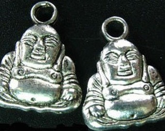 4 Tibetan Antique Silver Toned Buddha Pendants Charms Double Sided For Jewelry Fashion Art Craft Projects
