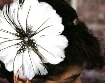 Feather Flower Stretch Headband Clip Hair Fascinator With Rhinestone For Weddings Events Parties Bridal Wear Bridesmaids Gift Sweet 16 Prom