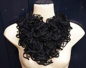 frivolous black knitted shawl