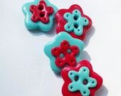 Red and aqua blue flowers - polymer clay buttons set of 4