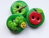 Caterpillar Buttons craft polymer clay handmade buttons set of 3 READY TO SHIP!!