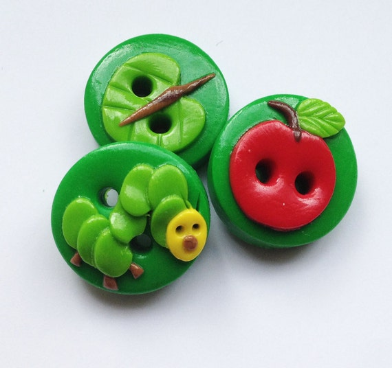 Caterpillar Buttons craft polymer clay handmade buttons set of 3 READY TO SHIP!!
