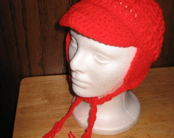 EAR FLAP HAT With Bill, Ties And Beaded Tassel, Red, Size Small