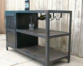 Industrial metal and reclaimed industrial wood table, wine/liquor cabinet, vintage mini bar, urban kitchen cart