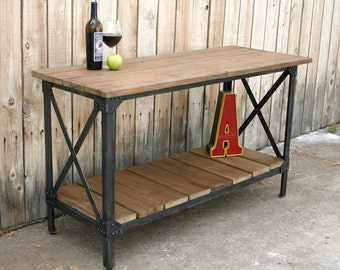 Custom handmade metal & reclaimed wood industrial console table, TV stand, occasional table, accent table, credenza, bar cart