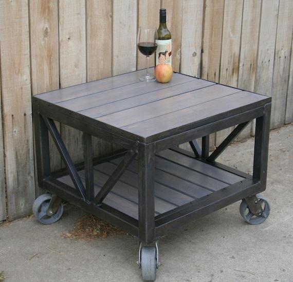 Handmade Scrap Metal And Reclaimed Wood Coffee Table