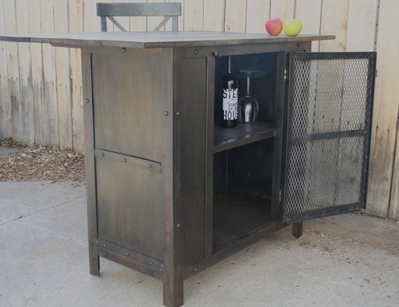 Handmade Industrial Steel Kitchen Island with Wood Top, Wine Cart, Mini Bar,Island,Bar,Table, Bar Cart,Dining,Liquor Cabinet,Wine Cellar,