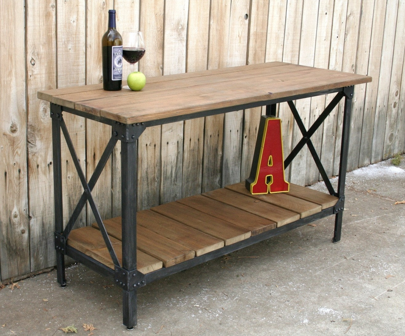 custom handmade metal reclaimed wood kitchen console table zoom