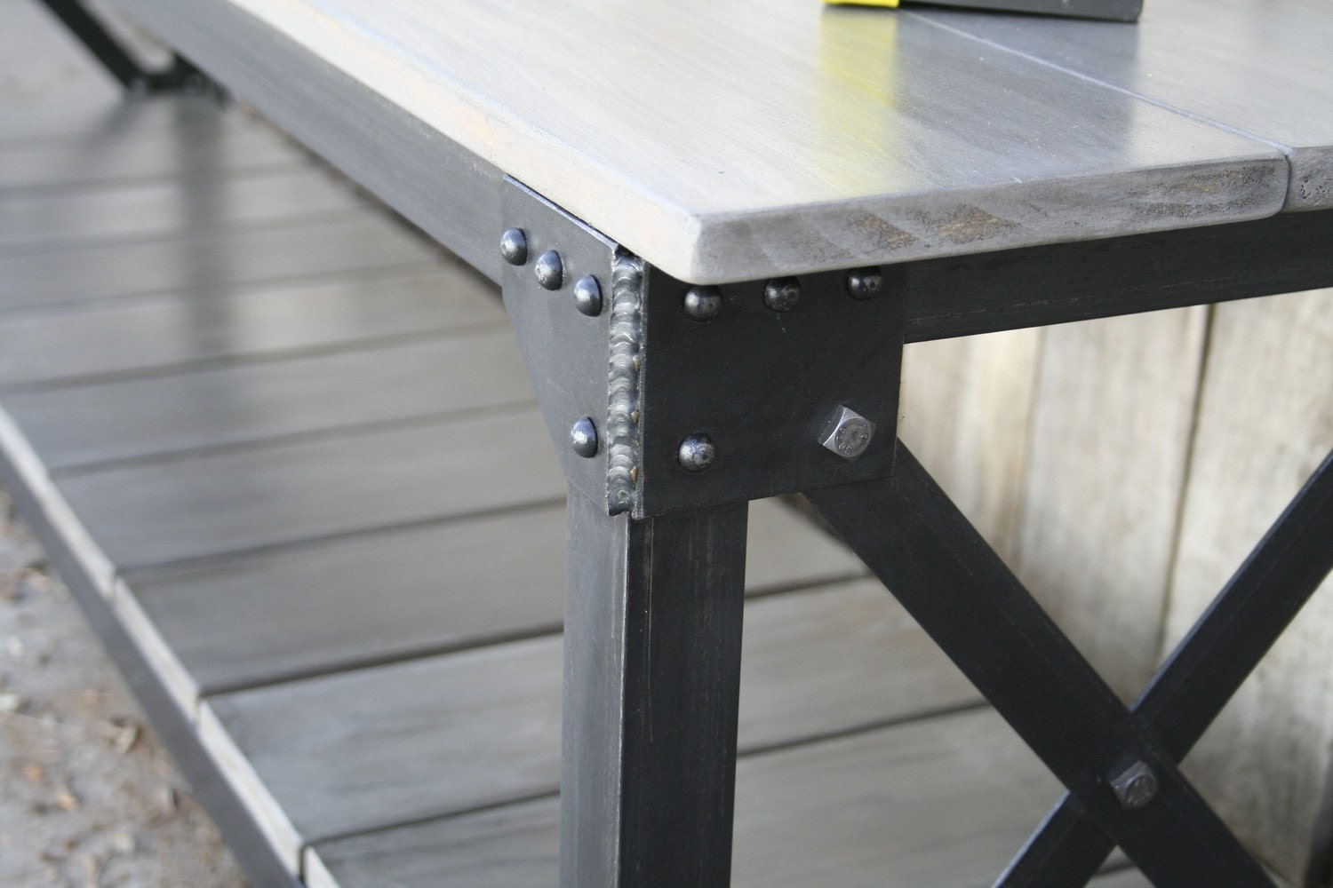Metal Kitchen Island Tables Modern Industrial Metal Table Featuring Grey Washed Oak