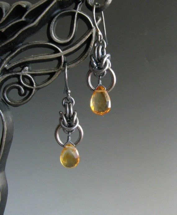 Chain Mail Earrings Byzantine Drop with Citrine