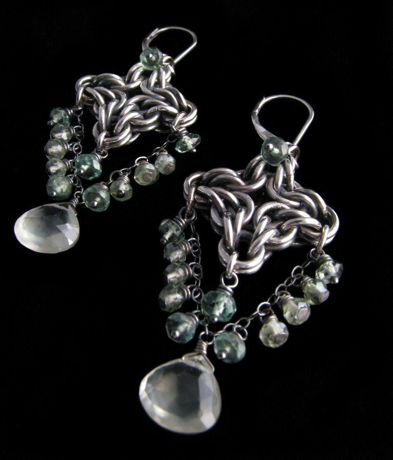 Cloud Cover Chain Maille Earrings With Garnet - Www imagez co