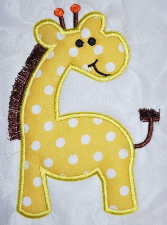 Fringe Giraffe Applique Design Boy Girl Animal Zoo
